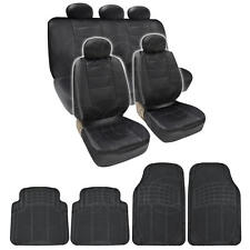 BDK Complete Set Black PU Leather 9 Pc Seat Covers & Black 4pc Odorless Mats