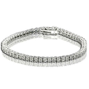 1 ROW DIAMOND WHITE GOLD FINISH TENNIS BRACELET 7.5 INCH