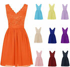New Short Lace Formal Evening Party Prom Homecoming Gown Bridesmaid Dresses 6-20