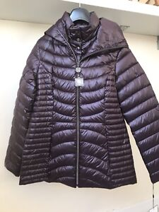 Laundry Dark Purple Packable Light Weight Hooded Down Coat sz M BNWT