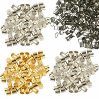 500Pcs Metal Crimps Stopper End Beads - Silver / Gold / Bronze / Black Plated