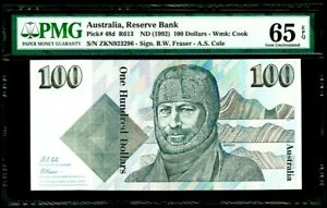 1992 Australia 100 Dollars P-48d MAWSON PMG 65 EPQ Gem Unc COLE/FRASER Rare Note