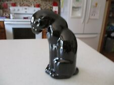 "Vintage Ceramic / Pottery Sitting Black Panther , 6 3/4 "" tall , VERY NICE !!"