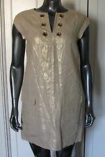 J CREW METALLIC  LINEN SHIFT DRESS WITH GOLD GROMMETS SIZE 4P $138.00