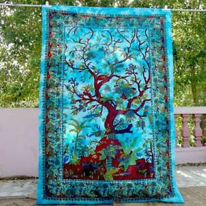 Bedspread Tree Of Life Twin Blanket Tapestry Home Decor Wall Hanging Dye Cotton