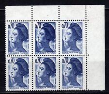 FRANCE 1982 Liberté 0,70 Yv 2240a Double Frappe dans bloc de 6 (case 9) SUP **