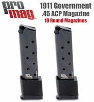 1911 45 ACP Magazine PROMAG Clip Pistol Gun Blued Steel 10rd Full Size 2 mags