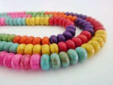 80 pce Colour Mix Synthetic Howlite Gemstone Abacus Beads 8mm x 5mm