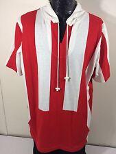 NOS Vtg Men RED WHITE Stripe SAILOR Mariner SMOCK Pull Over Shirt ARTIST L Lg