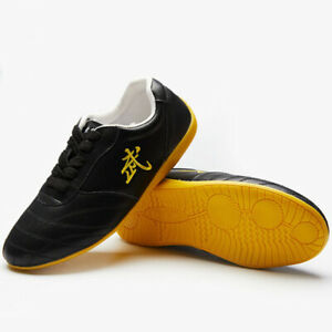 Unisex Leather Kung Fu Tai Chi Shoes Martial Arts Training Sneakers Footwear New