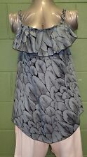 Ruffled neckline  top with handkerchief hem Size 12/14 Grey