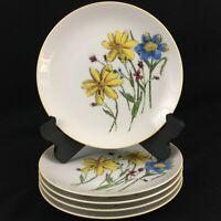 "Set of 5 VTG Salad Dessert Plates 7 1/2"" Yellow and Blue Floral Yellow Rim Japan"