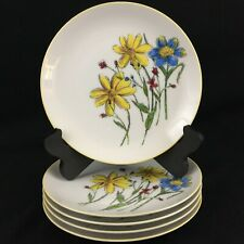 "Set of 5 VTG Salad Dessert Plates 7 1/2"" Yellow and Blue Floral Yellow Rim Japan"