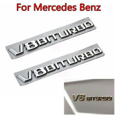 2Pcs OEM V8 BITURBO Side Fender Badge Emblem For Mercedes Benz CLS63 E63 S63 AMG