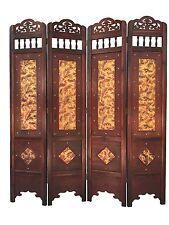 Angel Leaf Room Divider Screen 4 Panel Wooden Frame