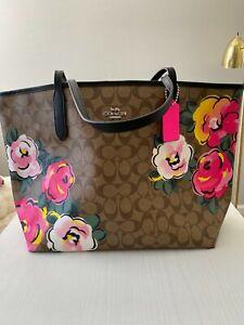 100% Authentic Coach City Tote Vintage Rose Print Signature Canvas Handbag NWT