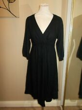 Boden 10 Black Jersey Day Dress Casual Work 3/4 Sleeves Fit & Flare A Line VGC
