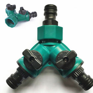 Y Geräte Verteiler Wasser Schlauch Adapter 3 Wege Verbinder mit Absperrhähnen