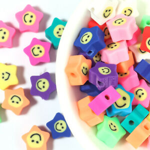 30pcs 10mm Clay Five-Pointed Star Smiley Seed Beads For DIY Jewelry Making