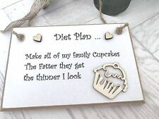 Diet Plan Sign Plaque Cupcakes Family Wall Hanging Humorous S11