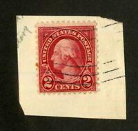 US Stamps # 579 2c Washington VF USED Tied To Piece Scarce