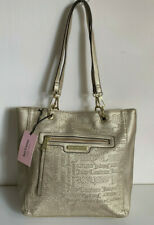 NEW! JUICY COUTURE WORD PLAY GOLD EMBOSSED SHOPPER SATCHEL TOTE BAG PURSE $99