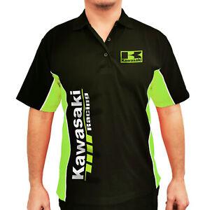 Kawasaki Racing motorcycle team Men Pique Polo Shirt Size XS - 2XL