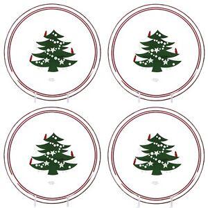 """Waechtersbach CHRISTMAS TREE 8"""" Dessert Plate Set 4PC Clear Glass Red Green"""
