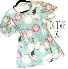 New Release  XL X-Large Olive Gorgeous Floral Tulip Sleeve Rayon