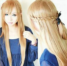 2017 Sword  Asuna Yuuki Braided 80 cm Long Pale Gold Brown Cosplay synthetic Wig