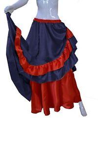 Belly Dance Women's Reversible Skirt Navy Blue Half Circle Black Frill Skirt S71