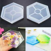 DIY Hexagon Coaster Resin Casting Mold Silicone Jewelry Making Mould Tool Craft