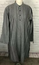Fabindia Long Shirt Dress Mandarin Collar 4 Button Front Gray Striped 42 XL