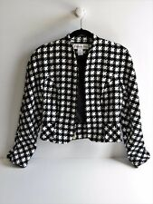 Christian Dior Stylish Houndstooth Cropped Soft Cotton Jacket Size 2 Made in USA