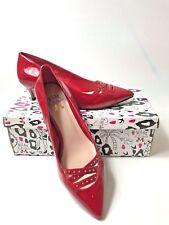 MISS KG BY KURT GEIGER RED PATENT DORIAN KITTEN HEELS EUR 38 UK5
