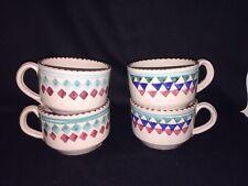 Lamas Italian Red Ware Art Pottery Mugs Cups Italy Sawtooth Tan Blue Italy