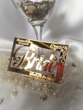 Personalised mirror wedding name place cards; engraved; anniversary; table decor