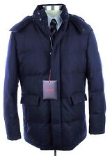 NWT ISAIA NAPOLI Navy Flannel Storm Wool Down Fill Hooded Coat Jacket 56 46 2XL