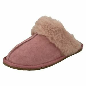 WARM LUX LADIES CLARKS FUR LINED SUEDE MULE INDOOR HOUSE SLIPPERS SHOES SIZE