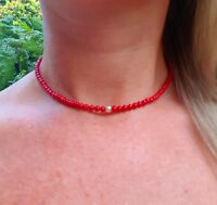 DESIGNER STERLING SILVER GENUINE RED CORAL NECKLACE CHOKER BEADED JEWELRY GIFT