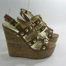 "NEW Tan Gold Stud 5.5""High Wedge Heel 2""Platform Open Toe Sexy Shoes Size 7.5"