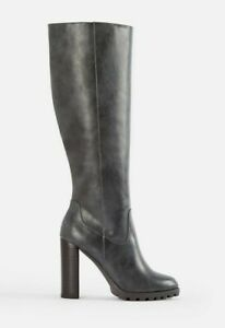 """Lorana by JUSTFAB (SHOEDAZZLE) Charcoal grey faux leather 4.5"""" knee boots, SZ 12"""