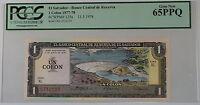1977-78 El Salvador 1 Colon Note SCWPM# 125a PCGS 65 PPQ Gem New