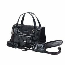 NEW Fashion Faux Crocodile Pet Dog Animal Carrier Tote Bag For Pet Black - 004