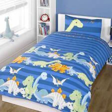 Dinosaures Set Housse de couette simple Parure de lit pour garçons bleu