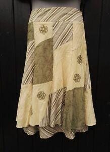 Next Patchwork Green & Ivory Hippy Peasant Folk Prairie Mori Cotton Skirt UK 8