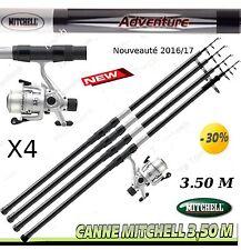 canne a peche, MER, TELESCOPIQUE MITCHELL 3.50 M, 4 cannes + 4 moulinets + Fils