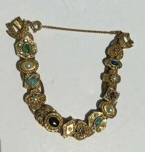 Vintage Goldette Victorian Revival Slide Charm Bracelet Signed, Gold Tone