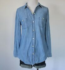 OLD NAVY Utility Pockets Denim Jean Chambray Button Up Down Shirt Blouse Top XS