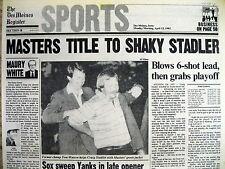 Best 1982 headline display newspaper CRAG STADLER wins MASTERS GOLF CHAMPIONSHIP
